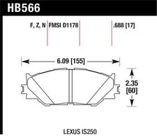 Hawk for 06-08 Lexus IS250 Performance for Ceramic Street Front Brake Pads - haw