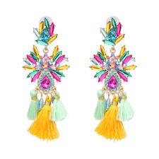 Pink /& cream crystal stone fan tassel dangle fashion statement stud earrings
