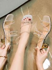 Womens Bling Rhinestones Clear Strap Slingbacks Med Heels Slippers Sandals HOT