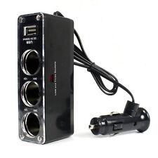 1PC 12V/24V USB Car Charger Supply+Triple Sockets Car Cigarette Lighter Splitter
