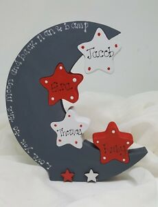 Love you to the moon and back, freestanding wooden moon, Mum, nanny, new baby