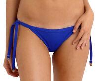 Size 10 Seafolly Bikini Blue Brazilian Side Tie Bottom Bathers Swim Wear Summer
