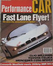 Performance Car 02/1994 featuring Nazca C2, Lomax, Nissan 300ZX, Saab, Mercedes