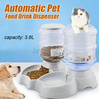 Automatic Water Food Pet Dog Cat Puppy Dispenser Feeder Bowl Dish Bottle 3.8L