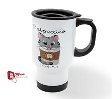 PERSONALISED Travel Thermal Mug 14oz - Catpuccino Design