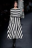 Valentino Runway AW 15 Black White Striped Wool and Silk Dress BNWT 8 IT 40 US 6