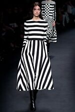Valentino Runway AW 15 Black White Striped Wool and Silk Dress BNWT 8 IT 40 US 6