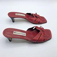 Etienne Aigner Steel Women Red Slip On Sandal Heel Shoe Size 8M EUR 38 Pre Owned