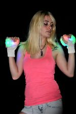LED Fingerless Fuzzy Gloves - Rave, Light Show, White, RGB Faux Fur Classy