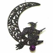 Gisela Graham Ornament 90092, Wire Hanging Moon with Witch.