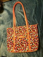 Vera Bradley Pixie Confetti Trimmed Vera Large Tote Bag Purse Retired