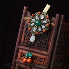 Chinese Red Stone/Green Agate/Chalcedony Pretty Woman Hairpin Tuck Comb Jewelry