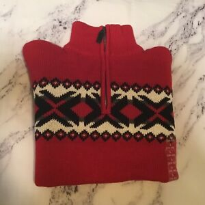 Boys CHAPS Sweater Red Size L 14-16 Nordic Icelandic 100% Cotton NWT