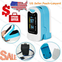 SpO2 PR Finger tip Pulse Oximeter Blood Oxygen Heart Rate Monitor Pouch& Lanyard