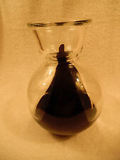 "Thick Clear Glass and Black Large Vase 9"" Tall 160-3C"