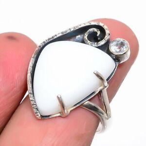 Italian White Coral & White Topaz Gemstone 925 Sterling Silver Ring s.9 JR240-16
