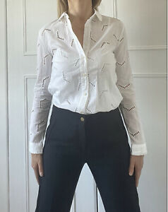 MiH Jeans White Embroidered Broderie Anglaise Shirt Blouse XS 6-8