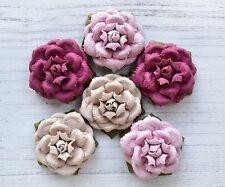 Handmade 4cm Vintage Paper Open Rose Flowers - 6 Pack Pink Tones