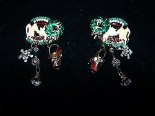 Whimiscal Vintage Lunch At The Ritz Cow w/Dangles Christmas Pierced Earrings VGC