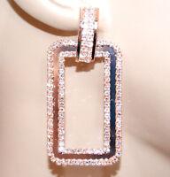 BOUCLES d' oreilles femme or rose pendentifs strass cristaux rectangulaires BB20