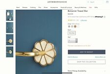 RRP£68 anthropologie new with tag Botanist Towel Bar brass bronze flower shell