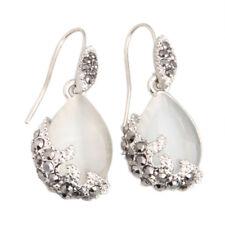 Earrings hooks in cat's eye stone drop 40 x 15 MM PK I9W6 C4C0