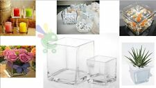 Vaso quadrato in vetro acquario vasi per confettata cerimonie da tavola cm 14x14