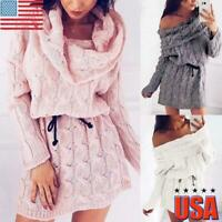 US Womens Knitted Long Sleeve Sweater Tops Ladies Off Shoulder Mini Jumper Dress