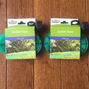 "2 Soaker Hoses Flat Weep Sprinkler 10ft x 3/4"" Ea Water Garden Seeds 20ft Total"