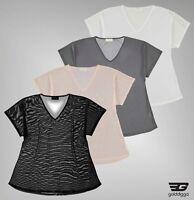 Ladies Designer Golddigga Loose Fitting Top V Neck Mesh Cover Up T Shirt 6-18