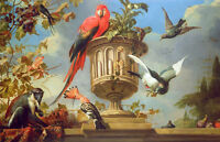 Oil painting beautiful flying birds with fruits grape and monkey in landscape