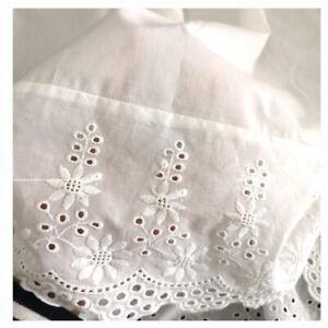 Women Underskirt Waist Slip Petticoat Cotton Embroidered Hollow Lace Trim White
