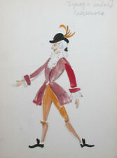 Vintage watercolor drawing theatre/opera costume design signed