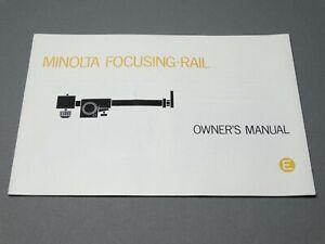 Minolta Focusing Rail Instruction Manual - Original not a copy