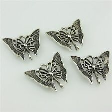20454 12X Vintage Silver Alloy Insect Filigree 29mm Butterfly Pendant Connector