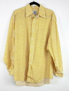 Brooks Brothers Men's Yellow Career Workwear Striped Button Up Dress Shirt Large
