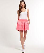 Neuer Damen Superdry Broderie Shimmer Rock Hot Pink
