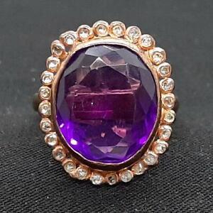 Antique 8.80ctw Old Rose Cut Diamond & Amethyst 14K Rose Gold 925 Ring Size 7