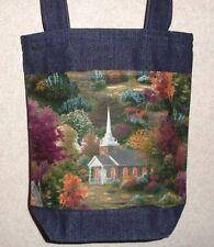 NEW Handmade Small Churches Church in Fall Woods Denim Tote Bag