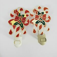 Pair Stained Glass Look Night Light Plastic Candy Cane Electric Wall Plug Bulb