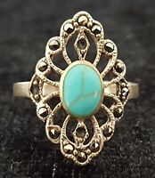 Sterling silver turquoise & marcasite vintage Art Deco antique ring - size K