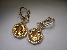 Magnificent Designer 18K Yellow Gold Cordova Diamond Citrine Dangle Earrings
