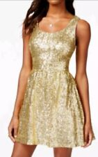 B.DARLIN GOLD SEQUIN Holiday- Party- Prom-  MINI DRESS FLARE SKIRT 1/2Jr  NWOT