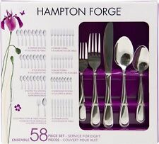 Hampton Forge 18/0 Stainless swirl Flatware 58PC spoon fork #XmasBonus