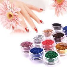 Fashion 12Pcs Mix Couleurs Acrylique Nail Art Dust Poudres Déco pour Tips Hot D