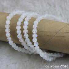 "5mm Natural Blue Light Round Moonstone Gemstone Beads Bracelet 4 Lap 25.5"" A+"