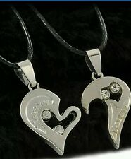 Couples his and her Heart Stainless Steel Silver & Silver pendant black cord