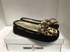 Minnetonka Women's Leopard Cally Black Slipper Moccasins Suede Black Size 6