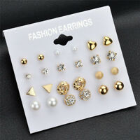 12Pcs/Set Crystal Rhinestone Ear Stud Earrings Women's Charm Earrings Jewelry B1