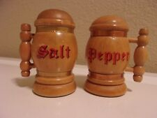 Vintage Wood Beer Stein Salt and Pepper Shakers-Yellowstone National Park